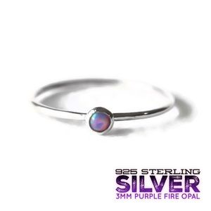 925S Purple Fire Opal Stacking Ring Size 2-13